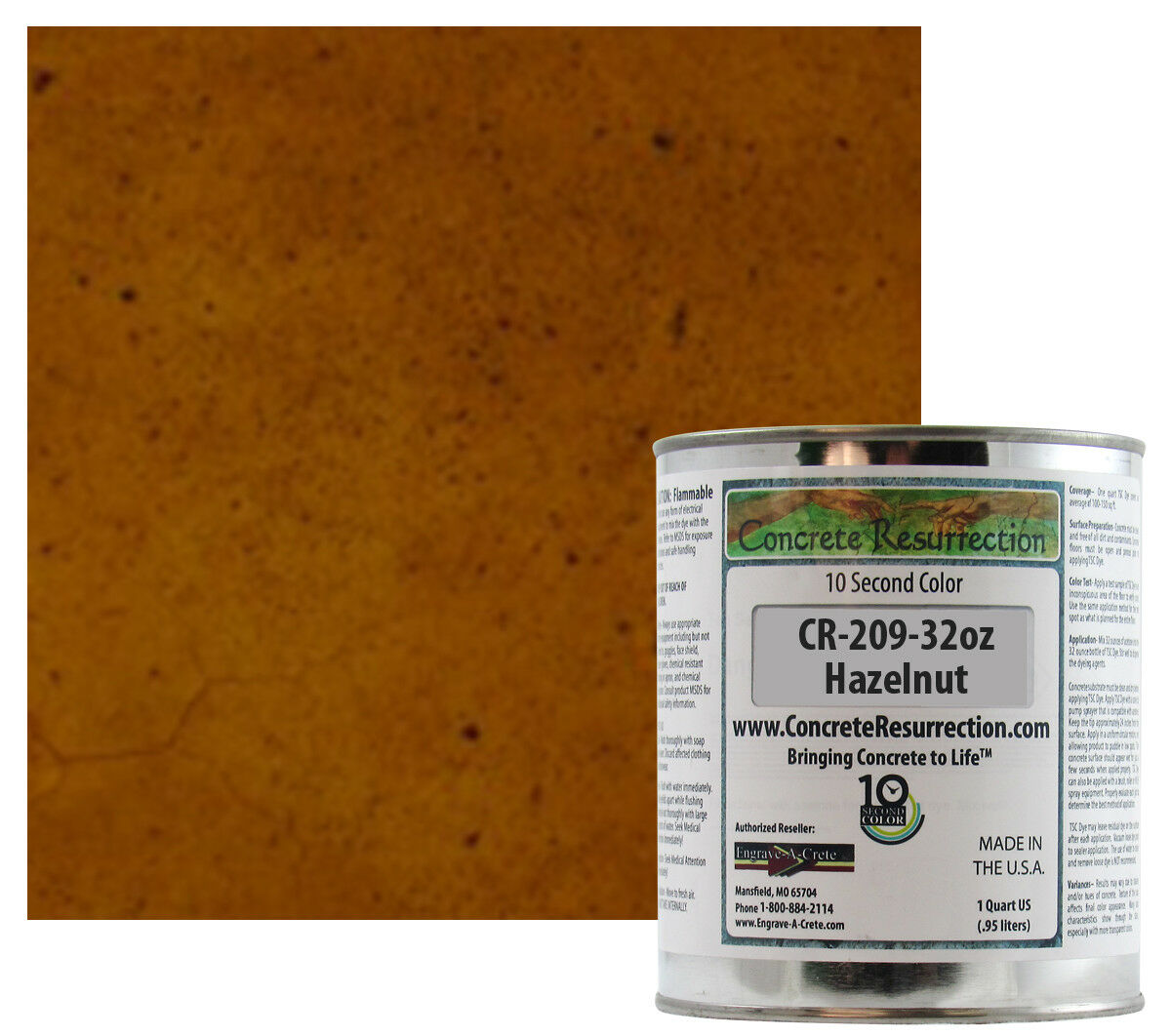 Fast Drying Concrete Stain-Professional-Easy to Use 100-150sq ft Hazelnut