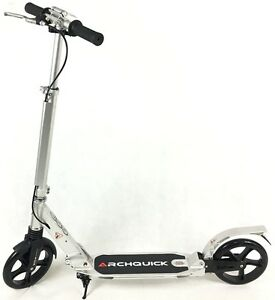 Scooter-Commuter-Push-Scooter-BIG-Wheel-Hand-Brake-Adult-Kids-Anodizing-Silver