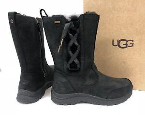 2de05abb3a0 Details about UGG Suvi Waterproof Black Leather Fur Winter Boots Sizes  Womens corset 1018333