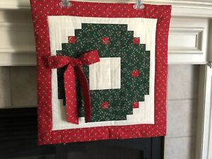Handmade Christmas Wreath Quilted Wall Hanging Log Cabin Quilt Design Ebay