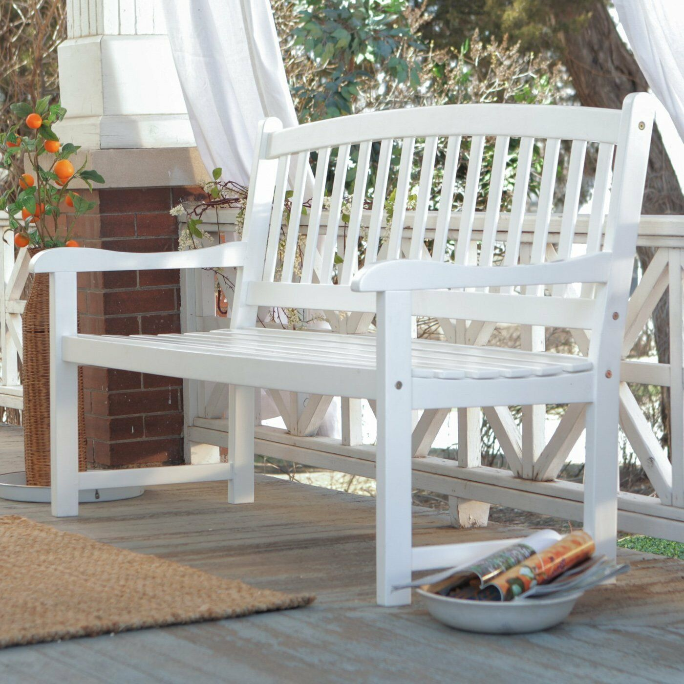 White patio bench wood outdoor yard deck park porch garden for Deck furniture