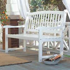 White Patio Bench Wood Outdoor Yard Deck Park Porch Garden Furniture Curved 4 ft