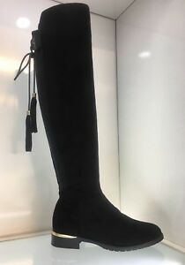 WOMENS-LADIES-FAUX-SUEDE-BLACK-KNEE-HIGH-LOW-HEEL-CASUAL-RIDERS-BOOTS-SIZE-5