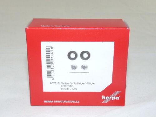 OVP herpa 052016 Reifen für Auflieger // Hänger NEU chrom//rot, 9 Sets