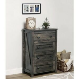Image Is Loading Farmhouse Barn Door Style 4 Drawer Dresser Chest