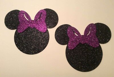 """Mickey Mouse Heads Set of 12 Black Glitter Foam Die Cuts 4"""" H Party Decorations"""