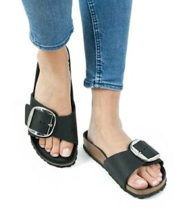 Image is loading Birkenstock-Sandals-MADRID-BIG-BUCKLE-black-waxy-leather- f4454db865c