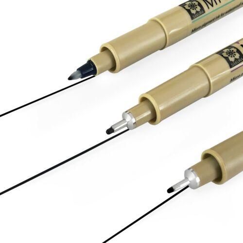 Black Ink Pigment Fineliner Pens 3 x Sakura Pigma Micron 0.5//0.8mm//PN