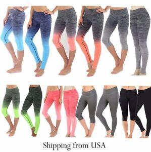 de242a225d Image is loading Women-Ombre-Capri-Cropped-Leggings-Yoga-Pants-for-