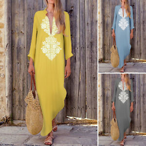 Women-Long-Sleeve-Low-Cut-Long-Maxi-Dress-Cotton-Ethnic-Kaftan-Shirt-Dress-Plus
