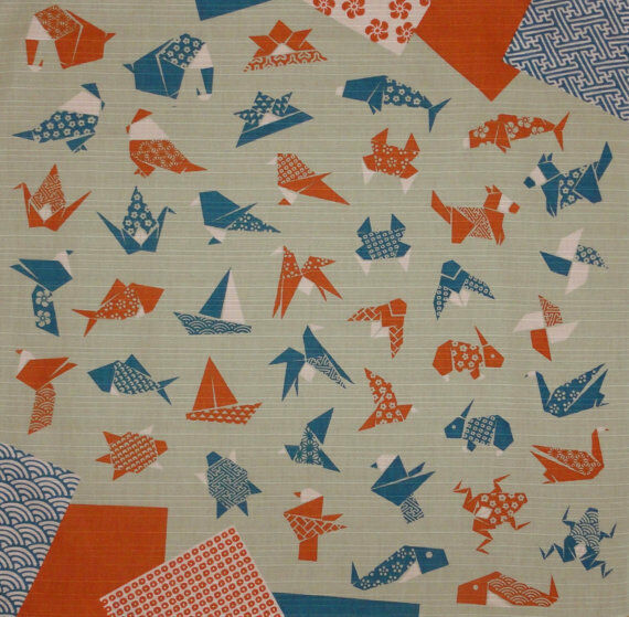 Furoshiki Wrapping Cloth Japanese Fabric 'Origami' Motif Cotton 50cm