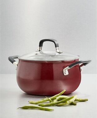 Belgique Nonstick Aluminum Red 3-Qt. Soup Pot with Lid