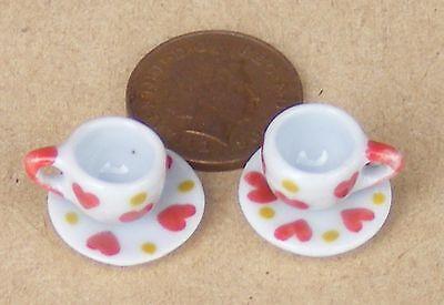 1:12 Scala 2 In Ceramica Coppa & Piattino Set Cuore Motif Casa Delle Bambole Accessorio Cs11-mostra Il Titolo Originale