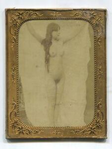 Actif A Risque French Nude Calotype Framed Not Cased C1860 Size 14 X 11 Cm Erotic Promouvoir La Santé Et GuéRir Les Maladies