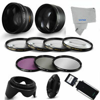 Telephoto Zoom Lens + Wide Angle Lens+ Gifts For Canon Eos Rebel T3 With 18-55mm