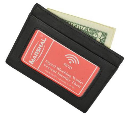 RFID Blocking Vintage Leather Thin Wallet ID Card Money Holder Front Pocket