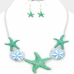 HIGH-END-SEA-LIFE-STARFISH-CHUNKY-FASHION-NECKLACE-JEWELRY-SET-CHIC-amp-TRENDY