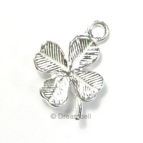 Bright .925 Sterling Silver Four Clover Leaf  Lucky  Dangle Charm Pendant 12mm