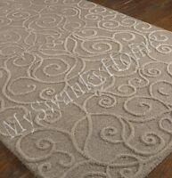 9 X 12 Hand Tufted Beige Tan Embossed Scroll Wool Area Rug Neiman Marcus Raised