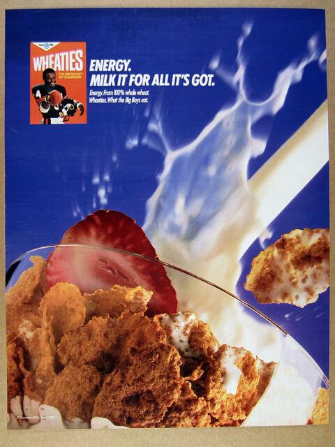 1986 Walter Payton photo Wheaties Cereal vintage print Ad