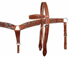 WESTERN HORSE LEATHER BRIDLE HEADSTALL W/ SPLIT REINS & BREAST COLLAR PLATE