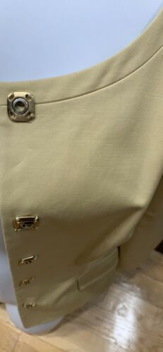 S Versace Fitted Lined Cotton Down Snap Beige Blazer q4wC40R