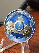 AA Founders 1 Year Medallion Chip Nickel & Ocean Breeze Blue Bill W Dr Bob One