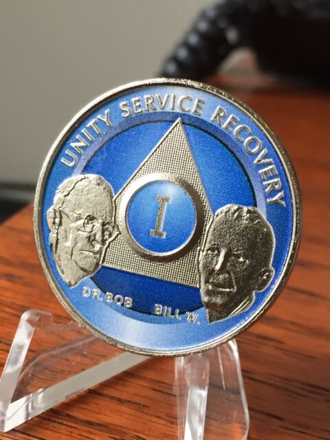 AA Founders Black Nickel Plated Any Year Medallion Chip Bill W Dr Bob