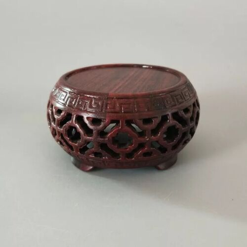 stand display China red suanzhi wood rosewood drum style round wooden base 5.9cm