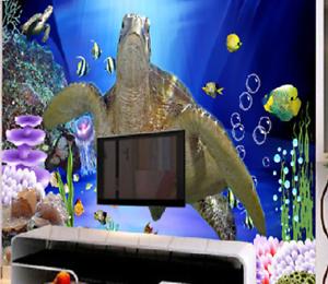 3D Schildkröte Fisch Meer 5 Tapete Tapeten Mauer Foto Familie Tapete Wandgemälde