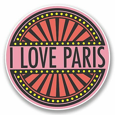2 x Paris Eiffel Tower Vinyl Sticker Laptop Travel Luggage Car #6396