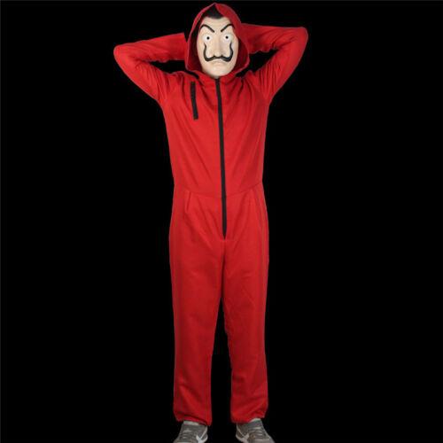 Salvador Dali La Casa De Papel Money Heist Red Jumpsuit Mask Costume Cosplay