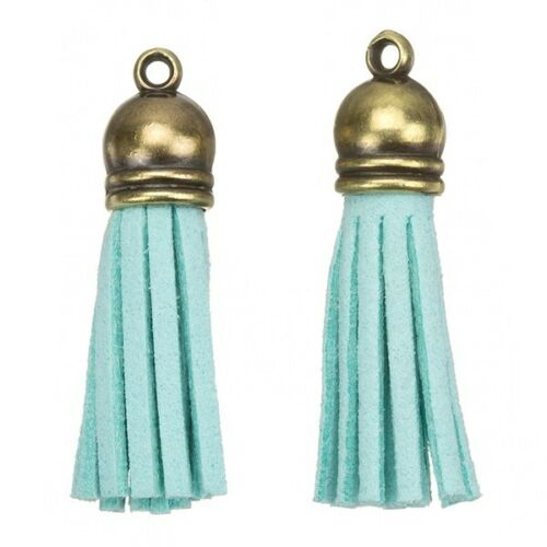 Suede Tassel Charms with Bronze Cap for Jewellery Making Turquoise 36mm H22//5