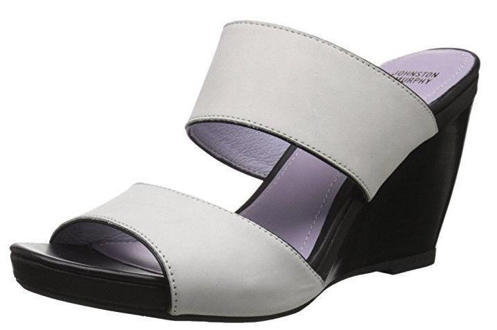 Johnston & Murphy Womens Nisha Wedge Slide Sandal Off White Nubuck Black 9.5 M