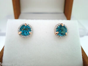 01016e4892e0 LONDON BLUE TOPAZ   DIAMONDS STUD EARRINGS 14K ROSE GOLD MICRO PAVE ...