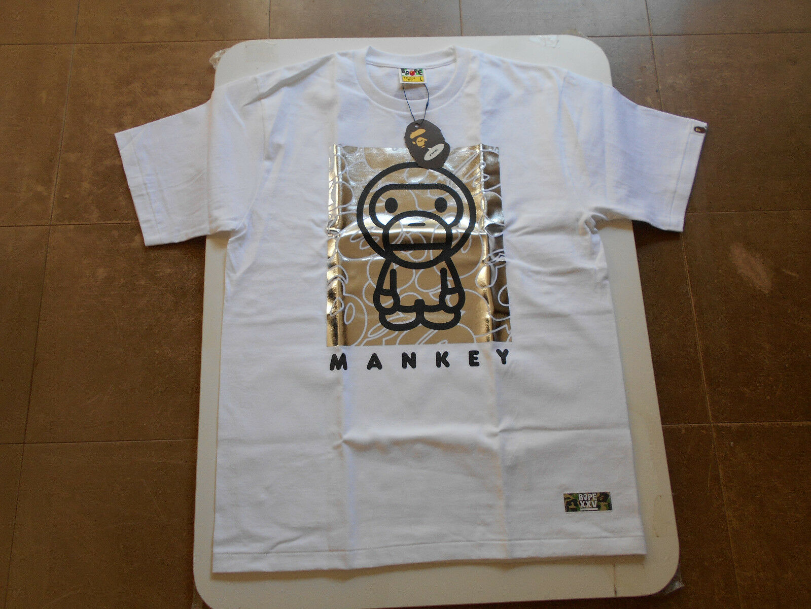 AUTHENTIC APE BAPE BABY MILO BY MONKEY TEE T SHIRT L new 10 artists collab