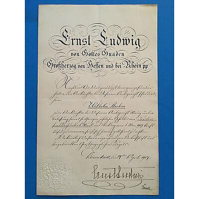 Bestallungsurkunde ERNST LUDWIG GROßHERZOG HESSEN DARMSTADT, Autograph, 1907