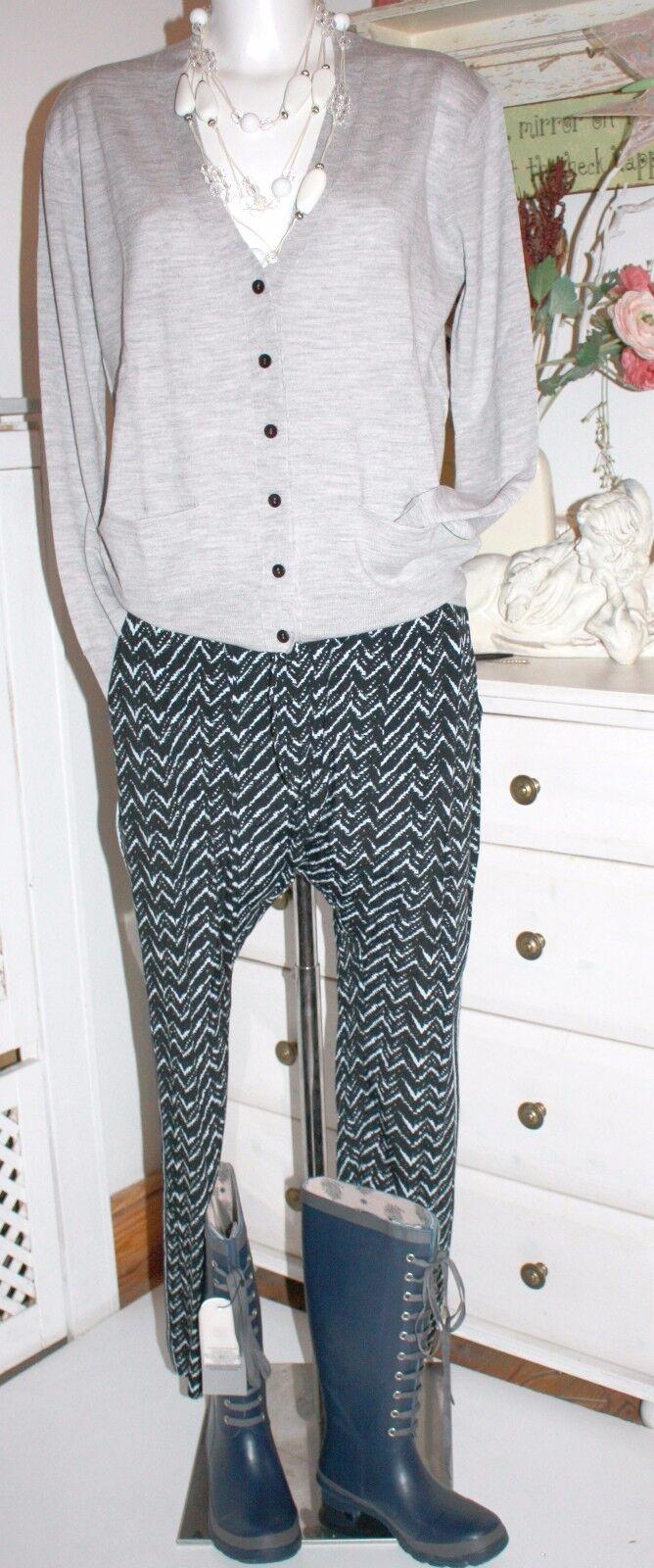 Noa Noa Pluder Hose Pants  Printed Moss Crepe Viscose Print bluee  size  34 Neu
