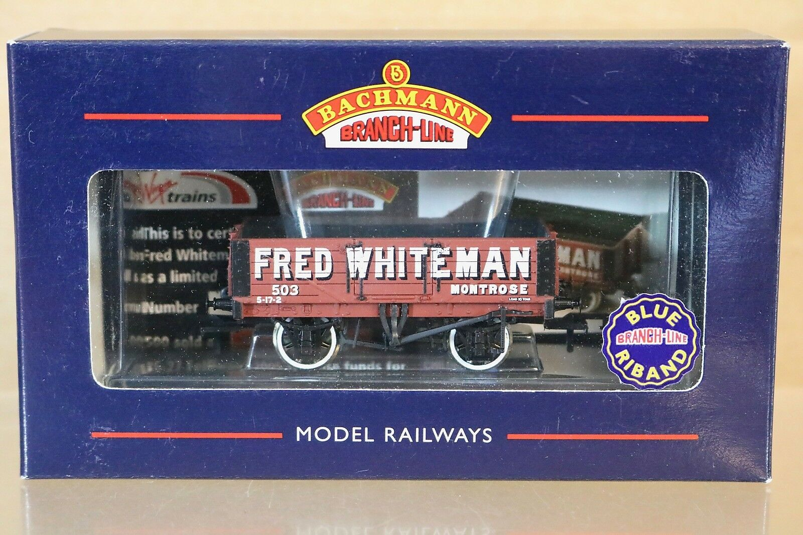 BACHMANN 37-050Y FRED WHITEMAN MONTpink 5 PLANK WAGON 503 LIMITED EDITION np