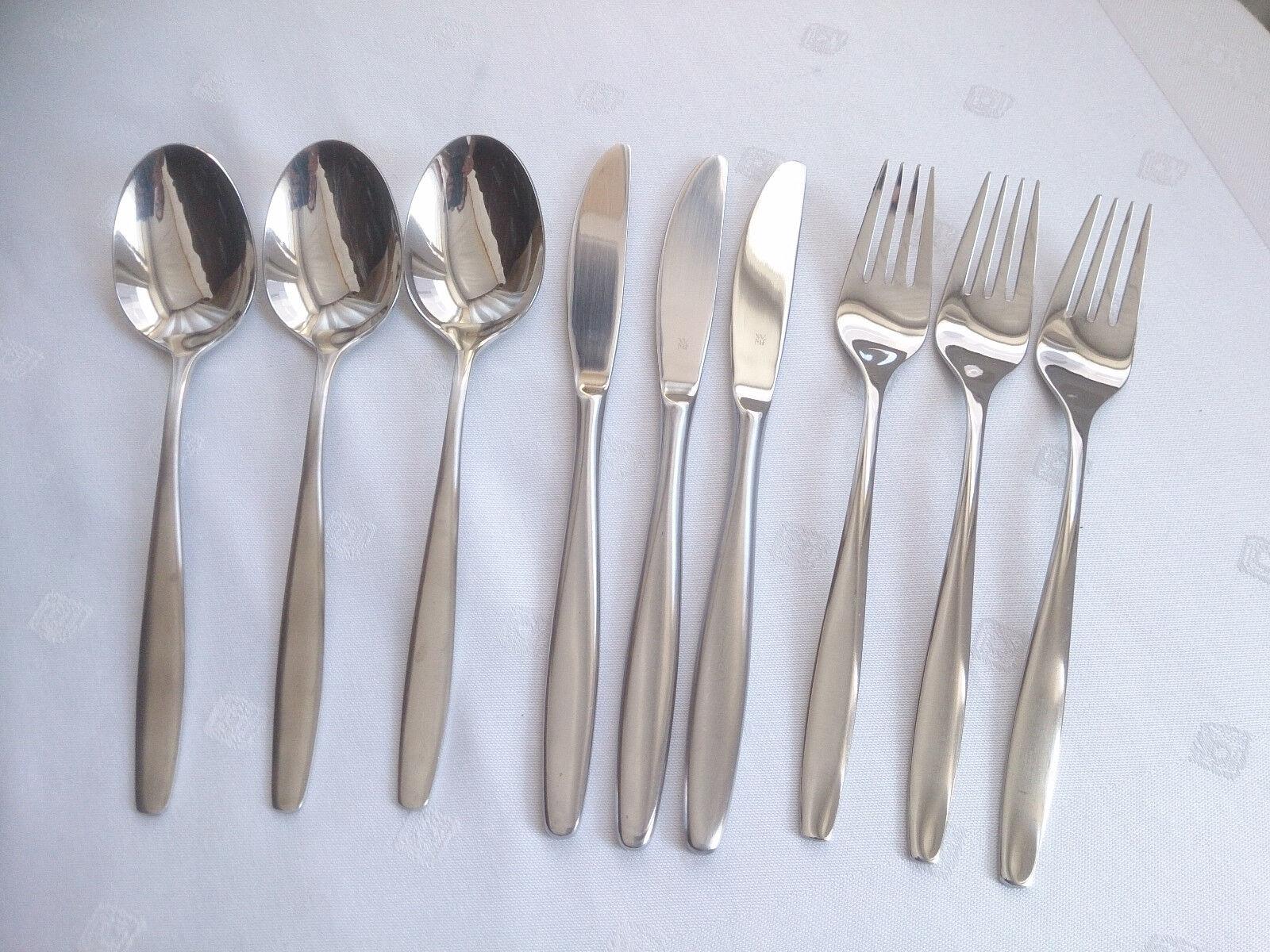 WMF Lüneburg Cromargan Couverts 3 personnes 9 pièces couteau fourchette cuillère Top (no 1)