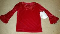 Red Velour 3-d Rose Top Size 2t Holiday Valentines Day