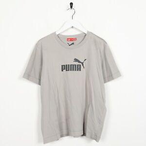 Vintage-Femme-PUMA-Big-Logo-T-SHIRT-TEE-gris-Large-L
