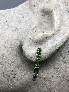 Vintage-Genuine-Chrome-Diopside-Gemstone-925-Sterling-Silver-Hoop-Earrings