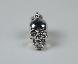 Sterling-Silver-SKULL-Charm-with-Lobster-Claw-Clasp-Free-U-S-Shipping-Included