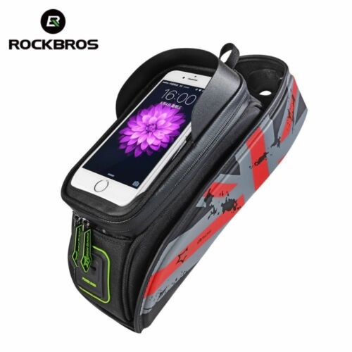 "RockBros Bike Frame Bag  6.0/"" Touch Screen Waterproof Mobile Phone Bag Red"