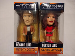 Doctor-Who-Bobble-Heads-11th-DOCTOR-Matt-Smith-amp-CLARA-OSWALD-New-in-Boxes