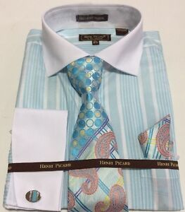 Men-039-s-HENRI-PICARD-French-Cuff-Dress-Shirt-TURQ-Tie-Hanky-Cufflinks-Set