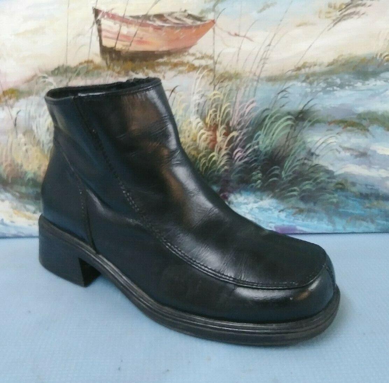 EARTH chaussures Marion en cuir noir 6878434 Zip Bottines Pour Femme Taille 7