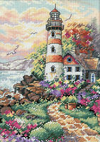 Cross Stitch Kit Gold Collection Beacon At Daybreak Lighthouse Garden 6883