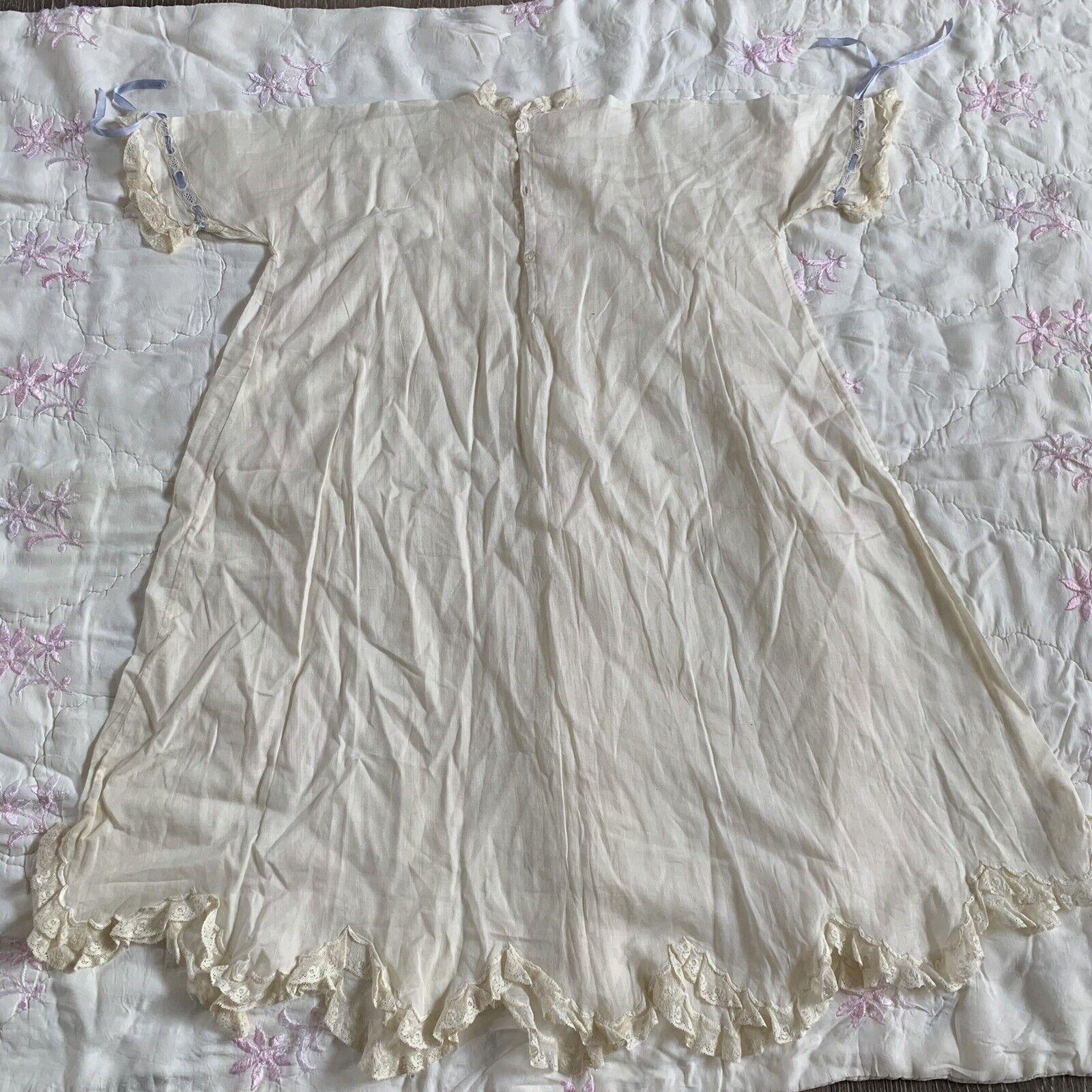 Antique Edwardian Kids Cotton Eyelet Embroidered … - image 11
